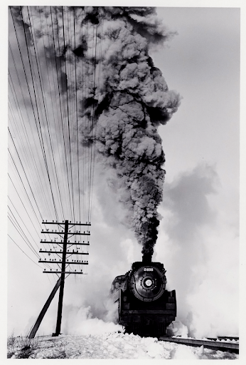 Canadian Pacific Railway 4-6-2, March 1960. Gelatin silver print. D. Plowden.