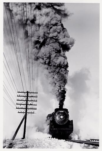 Canadian Pacific Railway 4-6-2, March 1960. Gelatin silver print. D. Plowden.