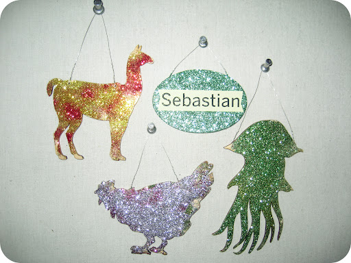 Llama, chicken, and jellyfish glittered by Sebastian.