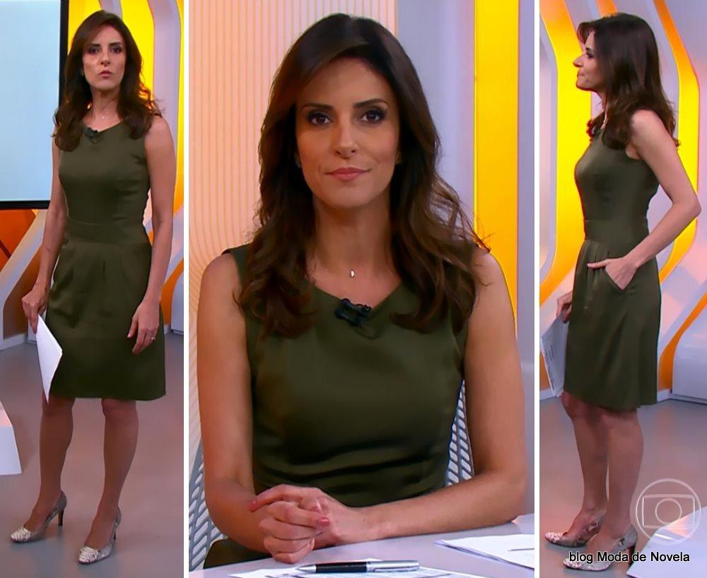 moda do programa Hora 1, vestido verde militar da Monalisa Perrone