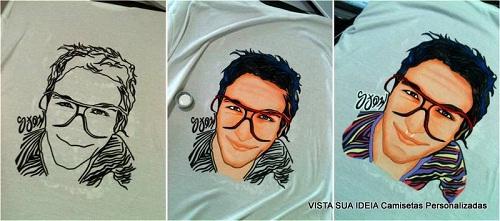 Etapas do processo de pintura de rosto na camiseta por Aldo Morais