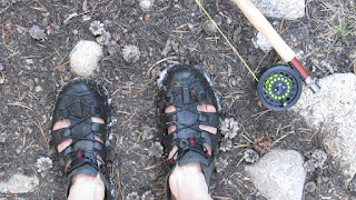 P after an afternoon of fishing Laurel Creek...complete with snow on his Crocs, pink toes...and a smile on his face.©http://backpackthesierra.com