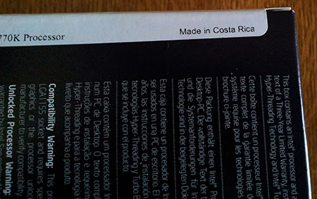 Intel i7 3770k Made in Costa Rica 4 Malaysia vs Costa Rica   Procesoare Intel