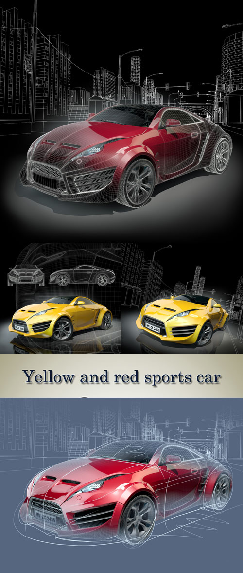 Stock Photo: Yellow and red sports car. Original car design