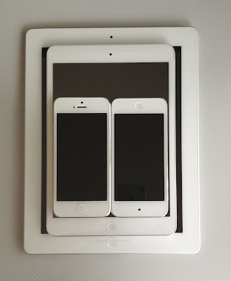 iPad mini、iPad3、iPod touch第5世代、iPhone5を重ねる