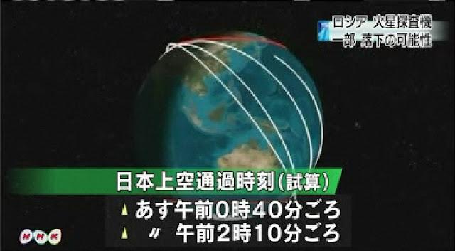 ロシアの火星探査機が本日15日夜から明日16日朝にも地球に落下