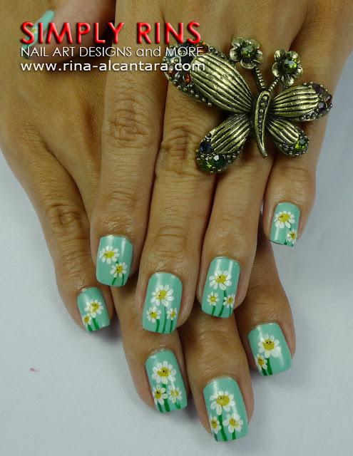 Dainty Daisies nail art design 02