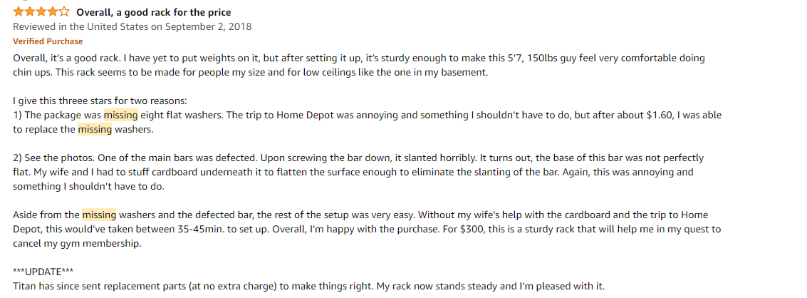 Customer review mentioning missing parts