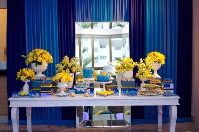 decoracao para casamento em azul e amarelo:Casando e Amando: Decoração Azul e Amarelo