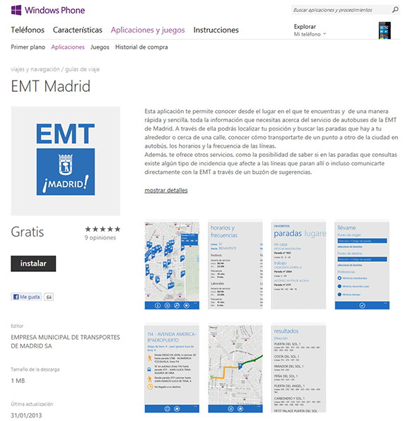 Disponible la App EMT Madrid para Windows Phone