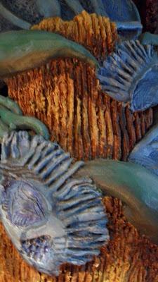 Ceramic pot. Bark texture and vines