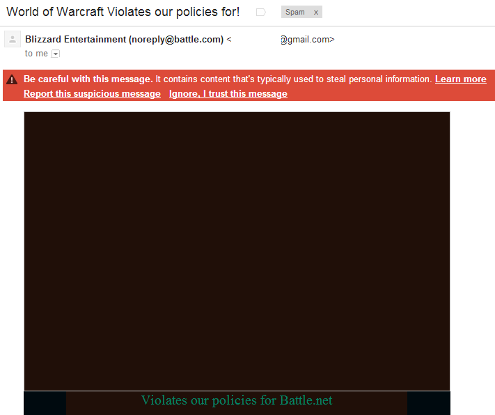 World of Warcraft Violates Our Policy Email Header