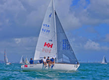 Team Helly Hansen- sailing upwind off Miami- J/24 Midwinters