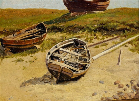 Laurits Tuxen - Two boats on the beach