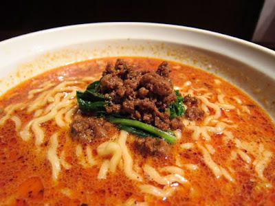 挽肉をスープに広げていただきます