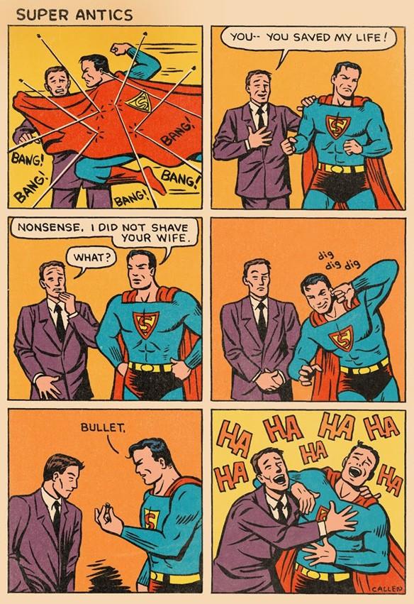 para você quem é o mais bondoso super herói dos quadrinhos? Callen_superman_goldenage