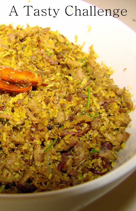 Irachi Thoran/ Meat stir fried with Coconut
