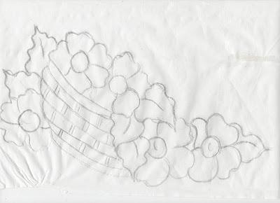 risco de cesto de flores do campo para pintar em pano de copa