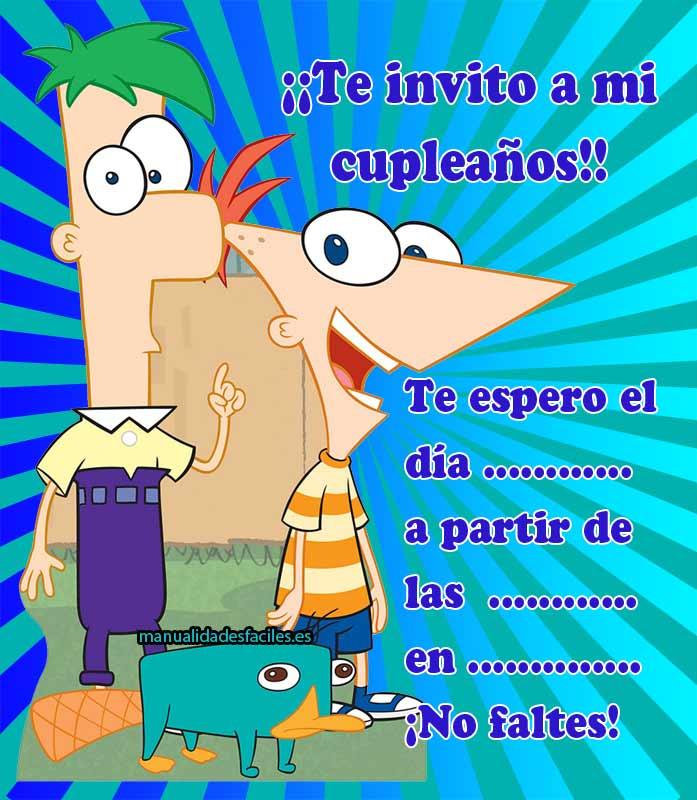 Invitación de cumpleaños de Phineas y Ferb para imprimir