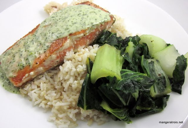 Serve salmon with wasabi sauce and bok choy.