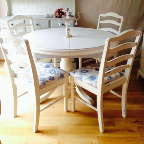 vintage upcycled furniture solid pine table and four chairs