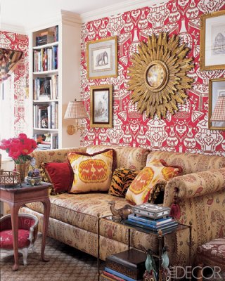 The Bold Red And White Wallpaper In This Library Is Toned Down By Abundant Use Of Tobacco Its A Sophisticated Chic Color Combination