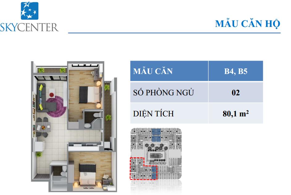 Mẫu căn hộ skycenter B4,B5