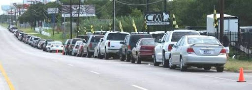 Cars lined up for groceries