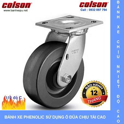 Bánh xe di động Phenolic chịu nhiệt phi 150mm Colson Mỹ | 4-6109-339