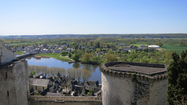 A view from the Castle of Chinon of the town and the Vienne River beyond