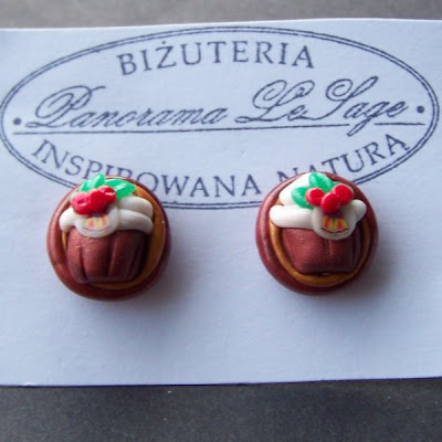 kolczyki wkrętki sztyfty babeczki słodycze biżuteria z masy polimerowej fimo