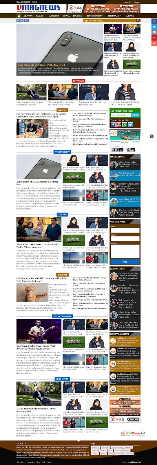 VMagNews Beautiful Template for Blogspot News (Responsive Template)