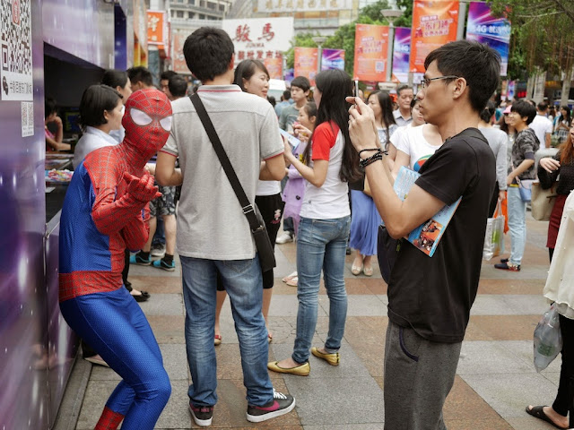 Spider Man being photographed in Shenzhen