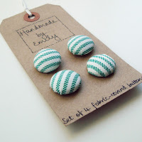 handmade by emily green white stripe ticking fabric buttons