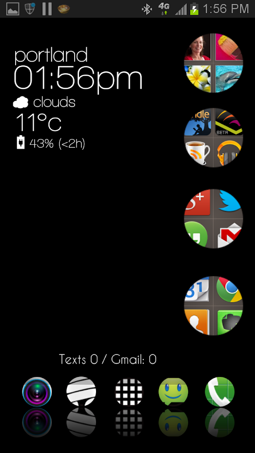 An Android home screen in black with round file folders containing colorful icons