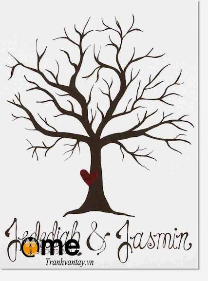 tranh in dấu vân tay hình cây