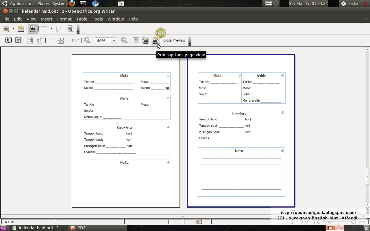 Inserting Page Breaks In Openoffice Writer In The Page Preview View, Click  The Print Options