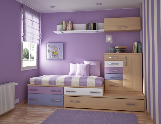 Home interior design 4 room teenage for girls ideas purple - Purple room for girls ...