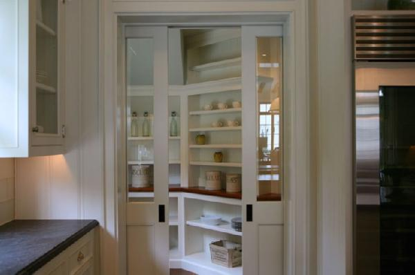 Exceptional I Like The Glass Sliding Doors Leading To This Pantry With Plenty Of Open  Shelves