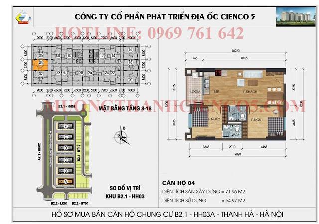 Sơ đồ chi tiết căn hộ chung cư b2.1 HH03A căn 04