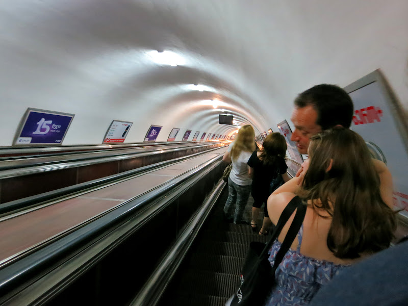 The long escalator down to the Metro