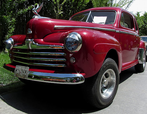 Vintage red ford in El Hatillo, Caracas