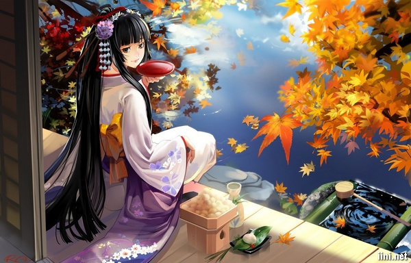 ảnh hoạt hình cô gái mùa thu xinh đẹp