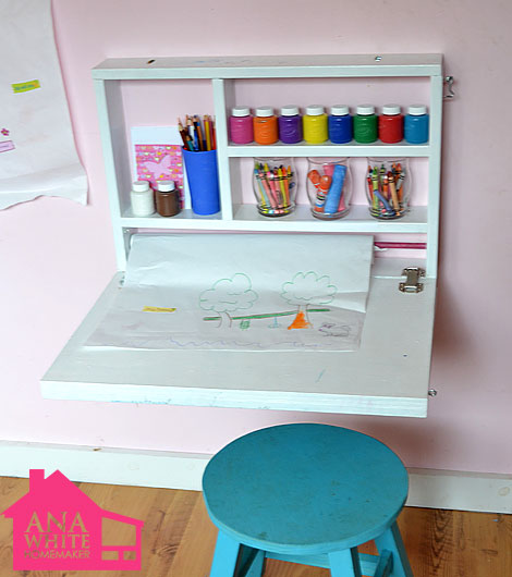 Ana White Build A Flip Down Wall Art Desk Free And Easy DIY