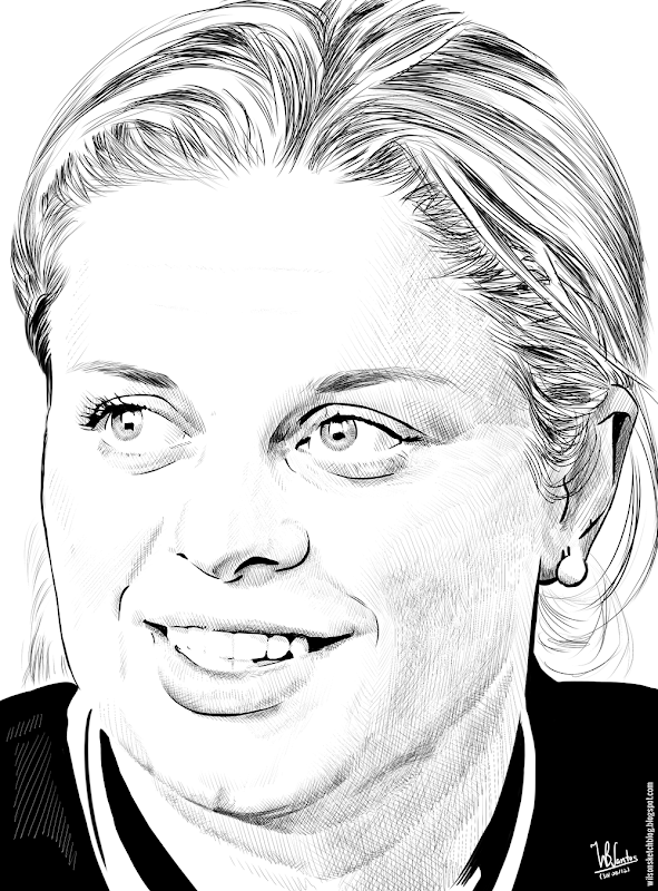 Ink drawing of Kim Clijsters, using Krita 2.4.