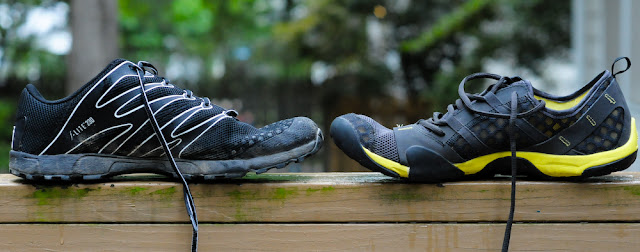 medial view of the Inov-8 f-lite 230 and NB MT10