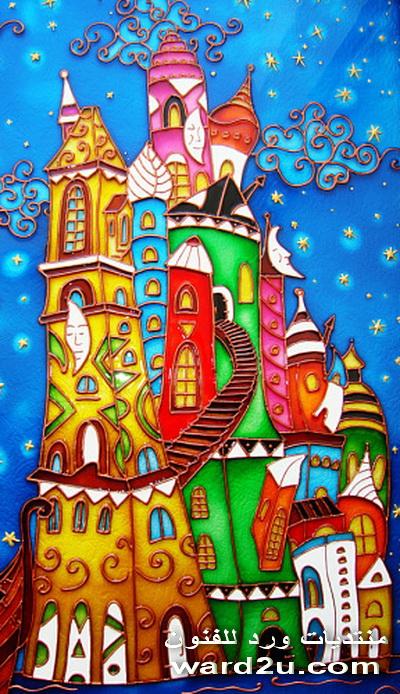 اعمال ولوحات من الرسم والتشكيل  والتلوين على الزجاج