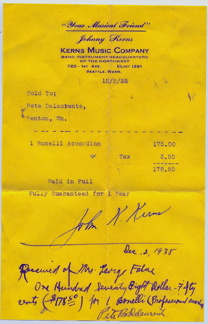 Receipt of purchase for Bonelli Accordion from Kerns Music Company dated December 2, 1938.