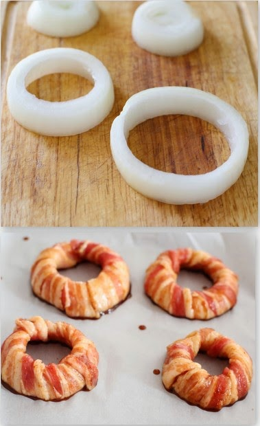 step-by-step photos showing how to slice the onions and wrap them with bacon