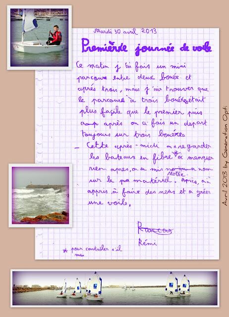 Stage Voile Optimist Canet-en-Roussillon 66 compétition vacances Pâques 2013